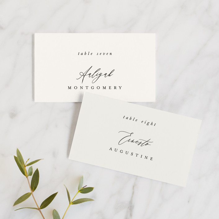 """Timeless"" - Wedding Place Cards in Taupe by Leah Bisch."