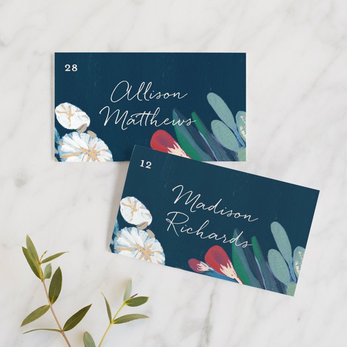 """Floral Burst"" - Wedding Place Cards in Ocean by Morgan Ramberg."