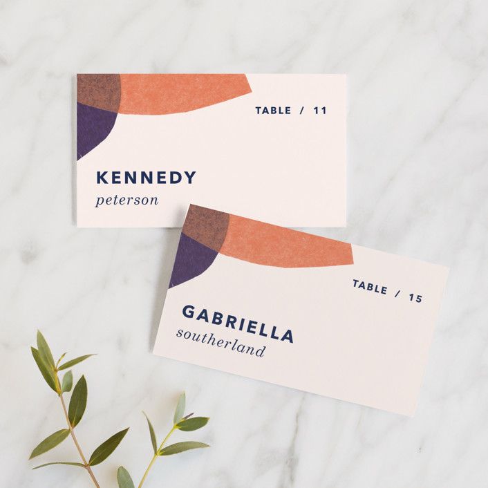 """tissue texture"" - Modern Wedding Place Cards in Papaya by Carrie Moradi."