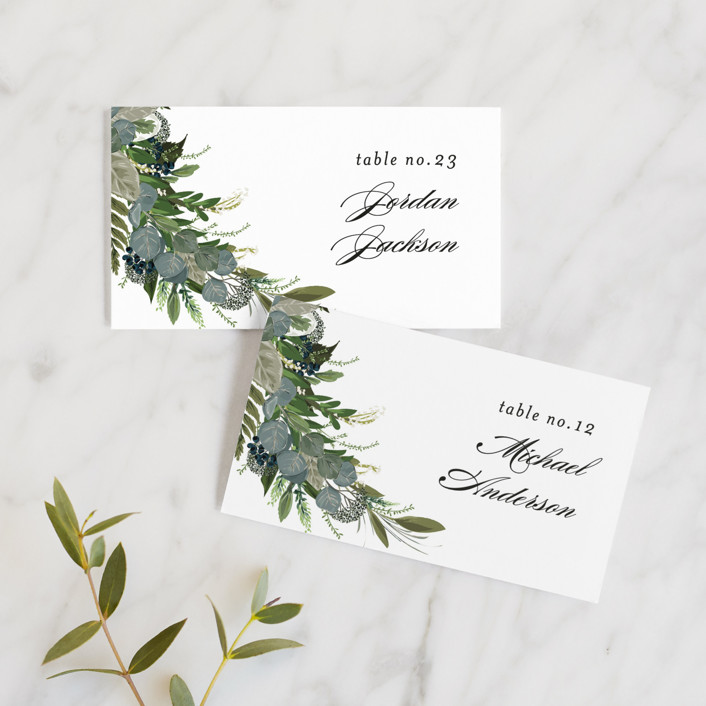 """Side Swept"" - Wedding Place Cards in Navy by Susan Moyal."