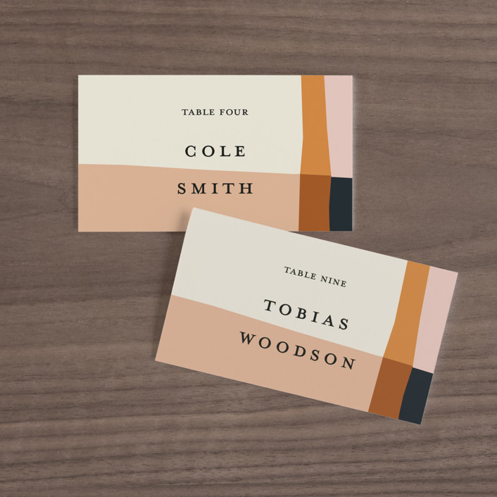 """Color Block"" - Modern Wedding Place Cards in Peach by Morgan Kendall."