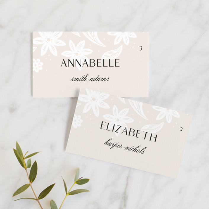 """""""Batikka"""" - Wedding Place Cards in Cream by Paper Raven Co.."""