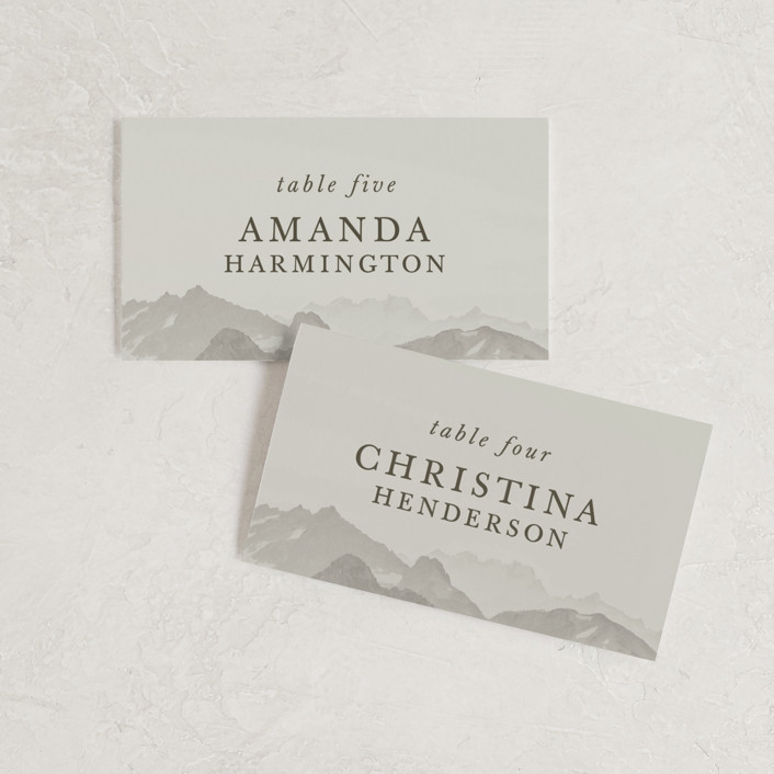 """Modern Mountain"" - Rustic Wedding Place Cards in Fog by Stephanie Biller."
