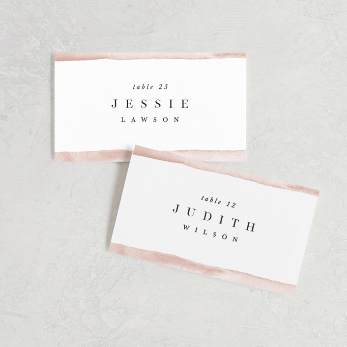 """First Love"" - Wedding Place Cards in Blush by Pixel and Hank."