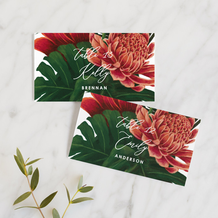 """""""Tropical Bouquet"""" - Wedding Place Cards in Basil by Elly."""