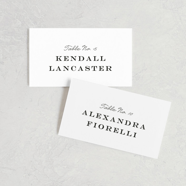 """""""Library Square"""" - Wedding Place Cards in Charcoal by Little Words Design."""