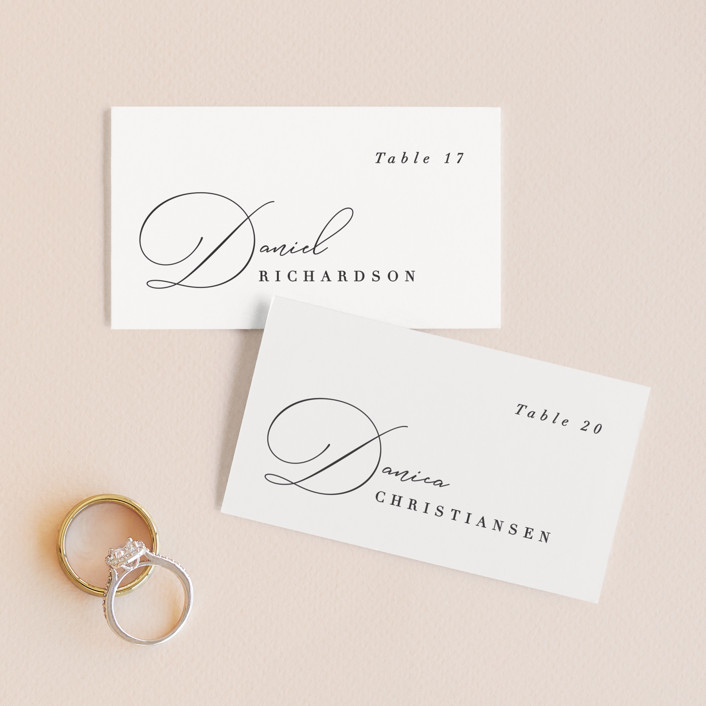 """""""Flowing Initials"""" - Wedding Place Cards in Ivory by Hooray Creative."""