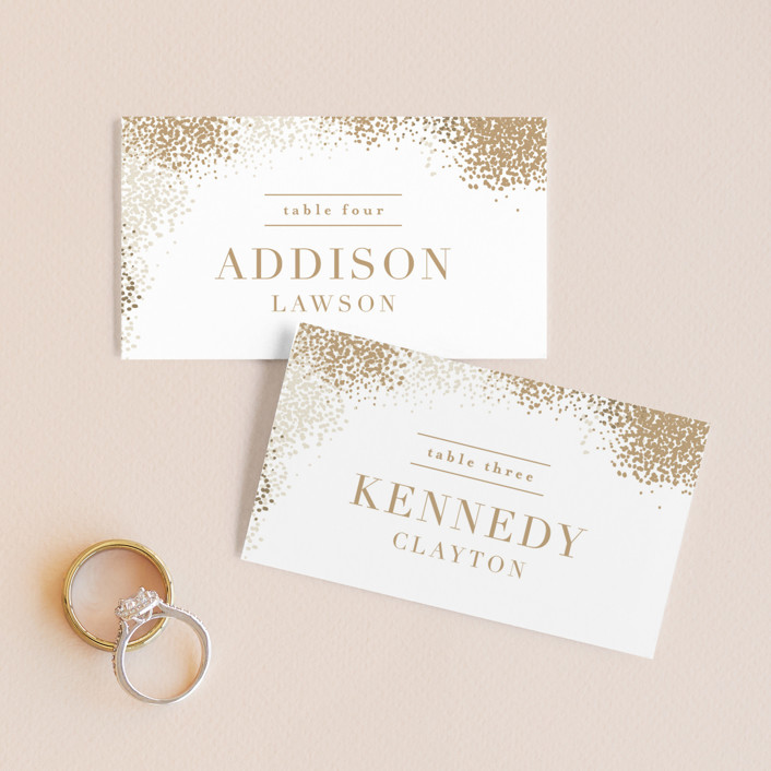 """""""Organic Dots"""" - Bohemian Wedding Place Cards in Champagne by lena barakat."""