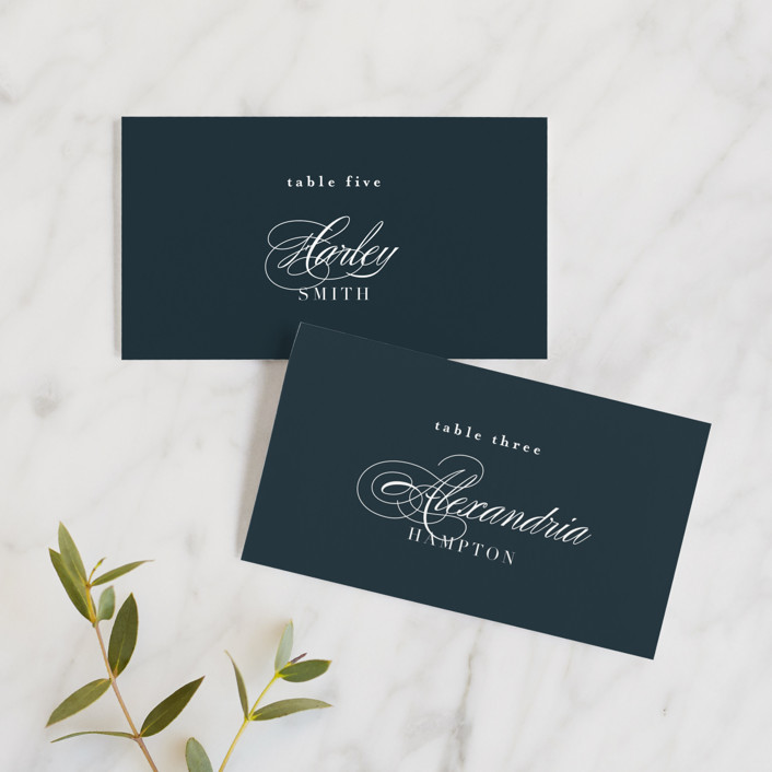 """""""Traditional"""" - Wedding Place Cards in Navy by lena barakat."""