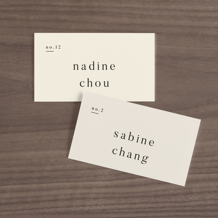 """""""Lineup"""" - Wedding Place Cards in Latte by Jennifer Lew."""