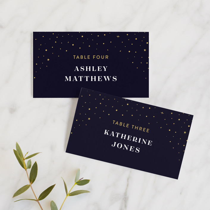 """Magical day"" - Bohemian Wedding Place Cards in Navy by katrina gem."
