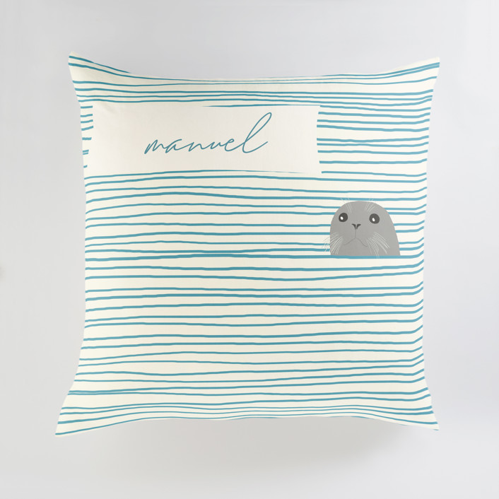 """""""Seal"""" - Large Personalizable Pillow in Pebble by Jorey Hurley."""