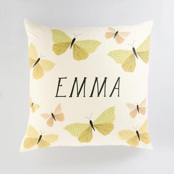 """Garden Butterflies"" - Large Personalizable Pillow in Buttercup by Karidy Walker."