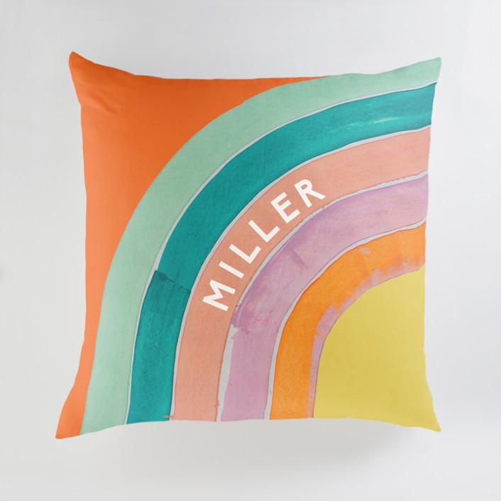 """Sherbet Rainbow"" - Large Personalizable Pillow in Sherbert by Lise Gulassa."