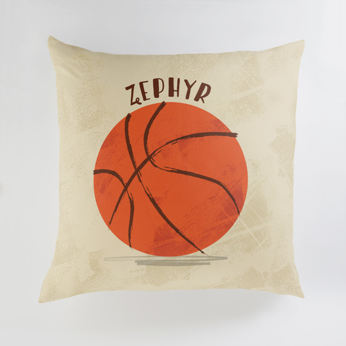 """Let us play basketball"" - Large Personalizable Pillow in Indoor Court by Susanne Kasielke."