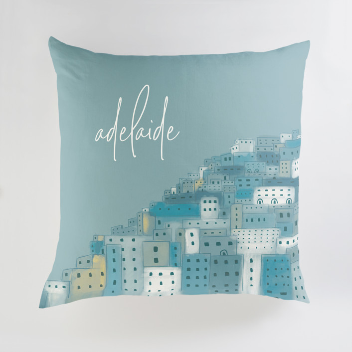 """Positano Houses"" - Large Personalizable Pillow in Peachy Pink by Laura Mitchell."