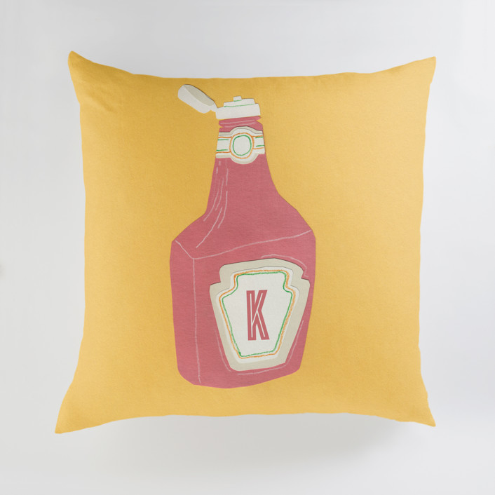 """Ketchup"" - Large Personalizable Pillow in Mustard by Elliot Stokes."