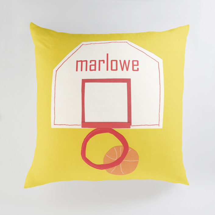 """""""Basketball Hoop"""" - Large Personalizable Pillow in Goldenrod by Elliot Stokes."""
