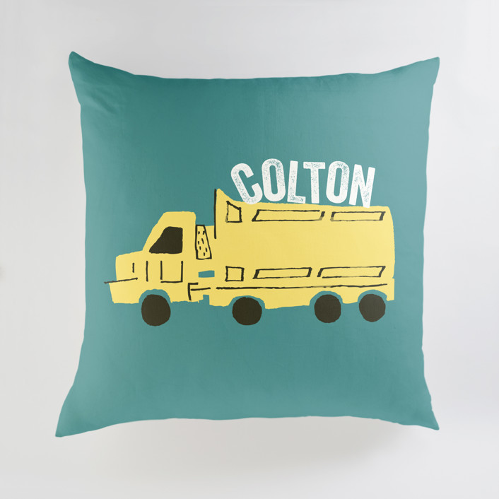 """Things that G0"" - Large Personalizable Pillow in Bright Turquoise by Shiny Penny Studio."