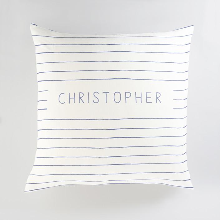 """""""Breton Stripe"""" - Large Personalizable Pillow in Snorkel Blue by Melissa Selmin."""