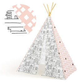 This is a pink play tent by Multiple Artists called Pastel Palace.