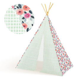 This is a colorful play tent by Multiple Artists called sketchbook floral.
