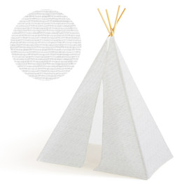 This is a white play tent by Katie Jarman called Mark Making.