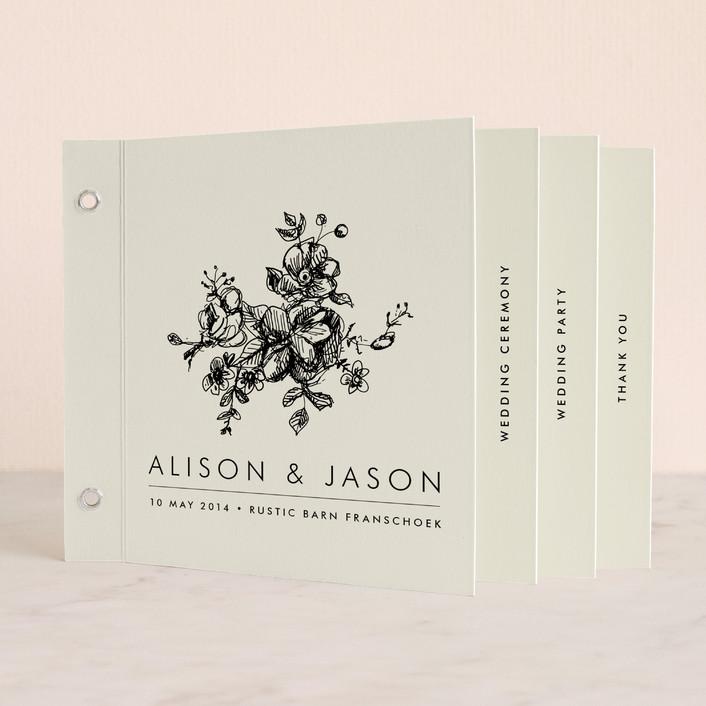 """Elegance Illustrated"" - Unique Wedding Programs in Beige by Phrosne Ras."