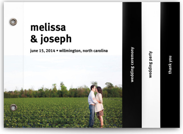 This is a landscape, portrait modern, simple, black Wedding Programs by Jack Knoebber called A Sweet Afternoon with Standard printing on Signature Cover in Minibook™ Card Share the details of your wedding ceremony with a chic and versatile Minibook(TM) program. ...