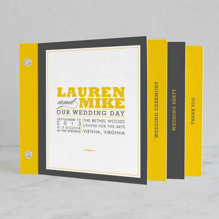 """Cocktail Hour"" - Simple, Bold typographic Unique Wedding Programs in Golden Yellow by Ariel Rutland."