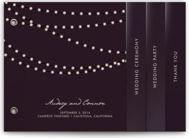 This is a landscape, portrait bohemian, bold typographic, classical, elegant, modern, rustic, simple, winery, purple Wedding Programs by Design Lotus called Midnight Vineyard with Standard printing on Standard Cover in Minibook™ Card Share the details of your wedding ceremony with ...