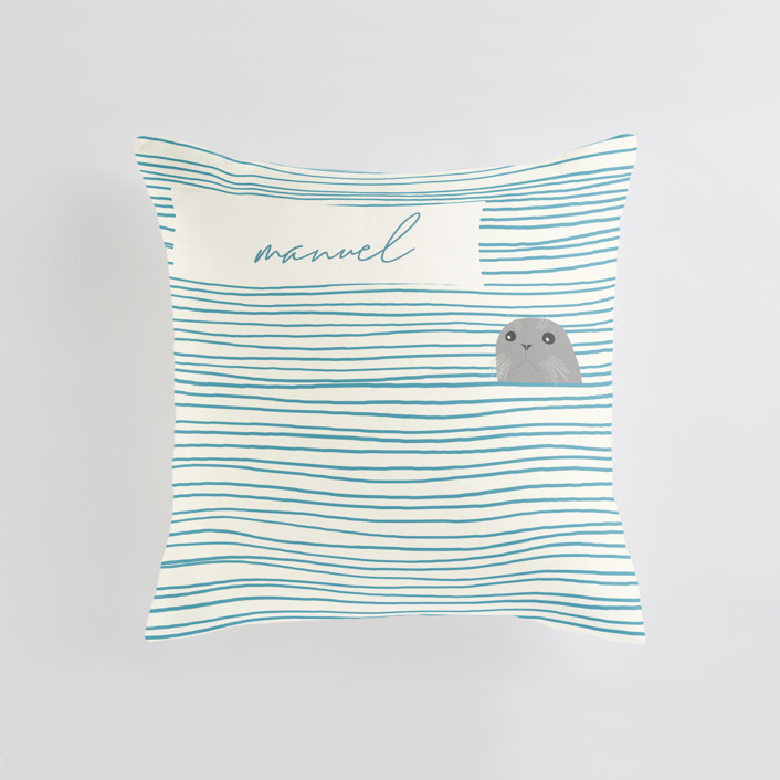 """""""Seal"""" - Personalizable Pillow in Pebble by Jorey Hurley."""