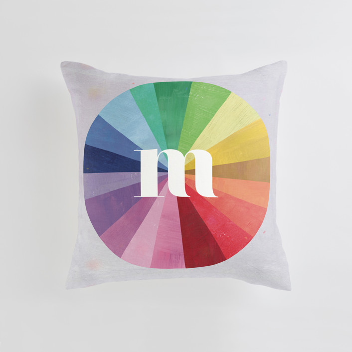 """""""Color Wheel"""" - Personalizable Pillow in Grey by melanie mikecz."""