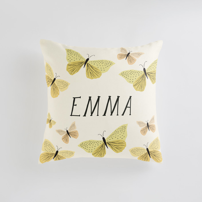 """Garden Butterflies"" - Personalizable Pillow in Buttercup by Karidy Walker."