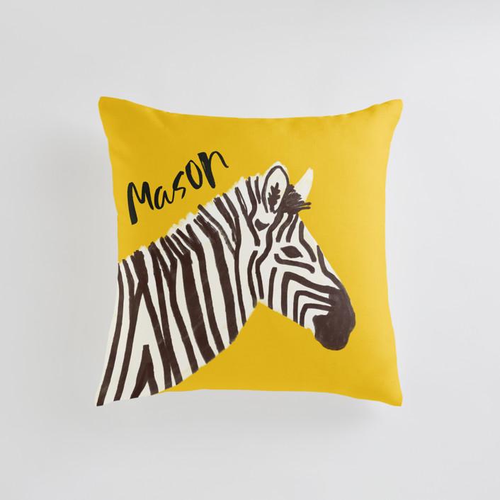 vibrant zebra Personalizable Pillows