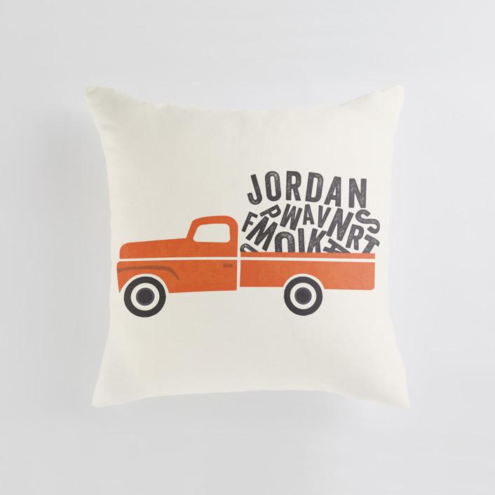 """""""Heavy Load"""" - Personalizable Pillow in Orange by Karidy Walker."""
