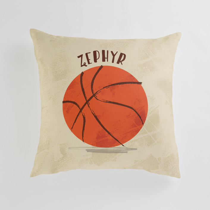 """Let us play basketball"" - Personalizable Pillow in Indoor Court by Susanne Kasielke."