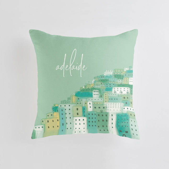 """""""Positano Houses"""" - Personalizable Pillow in Peachy Pink by Laura Mitchell."""