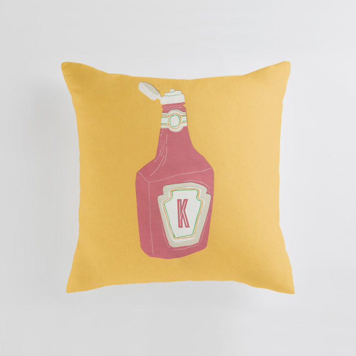 """Ketchup"" - Personalizable Pillow in Mustard by Elliot Stokes."