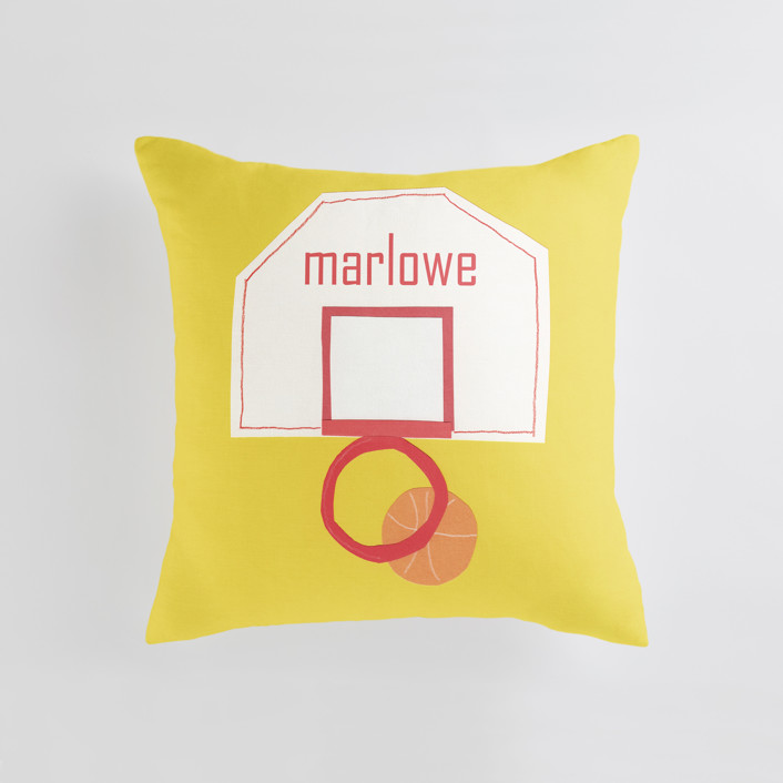 """""""Basketball Hoop"""" - Personalizable Pillow in Goldenrod by Elliot Stokes."""
