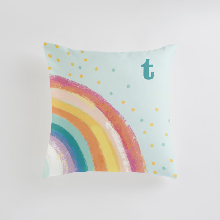 """Ventura Rainbow l"" - Personalizable Pillow in Ocean Mist by Alison Jerry Designs."