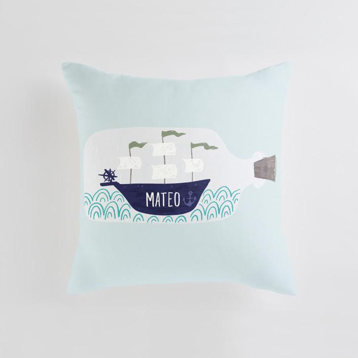 Little Sail Boat Bottle Personalizable Pillow