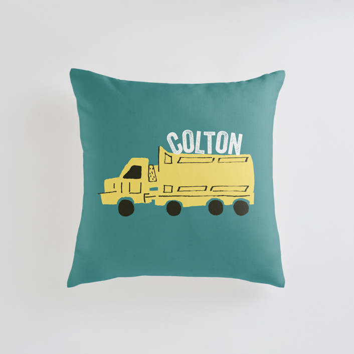 """Things that G0"" - Personalizable Pillow in Bright Turquoise by Shiny Penny Studio."