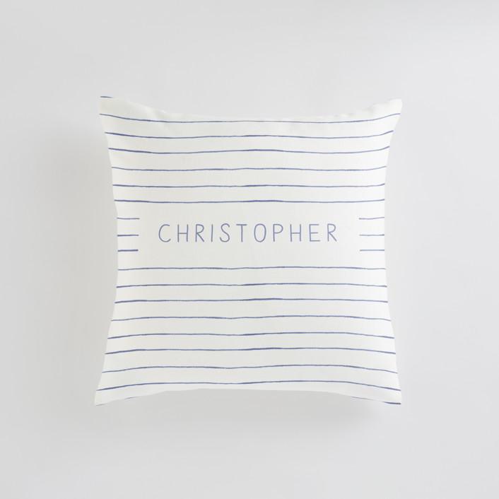 """""""Breton Stripe"""" - Personalizable Pillow in Snorkel Blue by Melissa Selmin."""