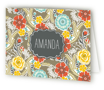 Country Floral Folded Personal Stationery