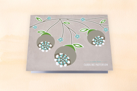 Dripping Floral Branch Folded Personal Stationery