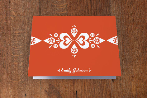 Red Heart Pattern Folded Personal Stationery