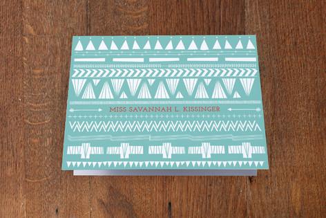 Southwest Stripes Folded Personal Stationery