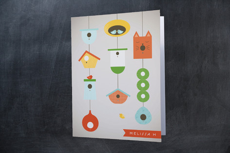 Hanging Bird House Folded Personal Stationery