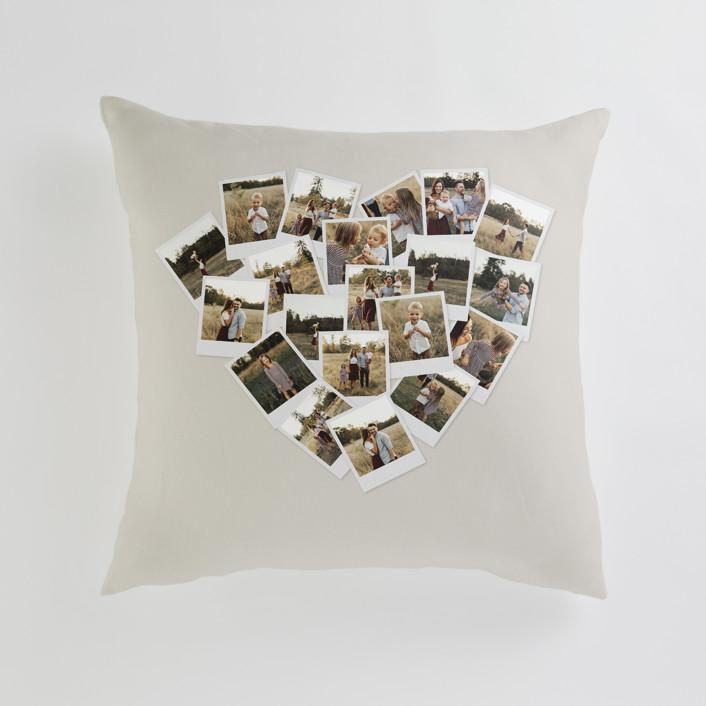 """""""Collage Heart"""" - Large 24 Inch Photo Pillow in Warm Grey by Minted."""